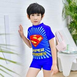 Новинка 2018 года; Лидер продаж; купальные костюмы из двух предметов с суперменом; ультратянущиеся быстросохнущие шорты с короткими рукавами