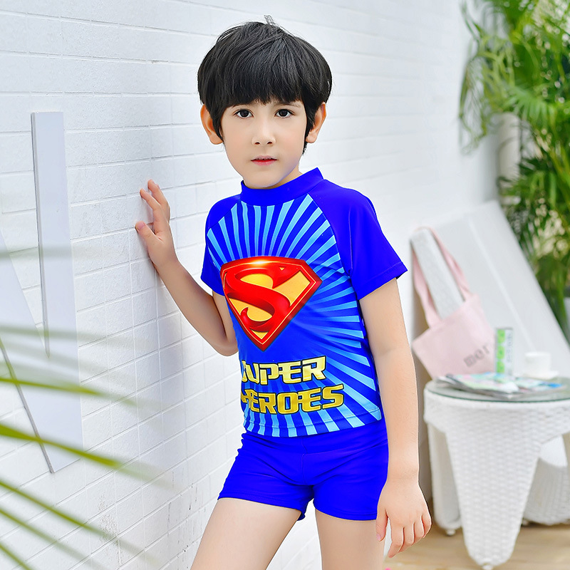 2018 New Style Hot Sales Two-piece Swimsuits Superman Pattern Ultra-stretch Quick-Dry Short Sleeve Shorts Stand Collar BOY'S KID