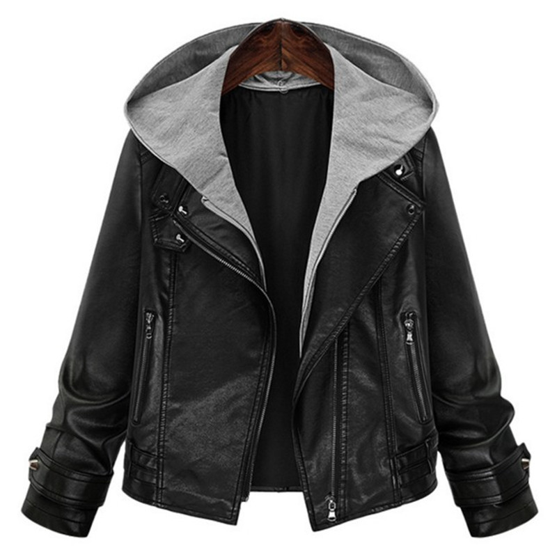 2018 Women Autumn Winter Hooded Faux   Leather   Jacket Slim Fashion Motorcycle Hat Detachable Plus Size 5XL Casual PU   Leather   Coat
