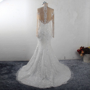 Image 2 - RSW1541 Africa Black Girls Long Sleeves Heavy Beaded Lace Mermaid Wedding Dress
