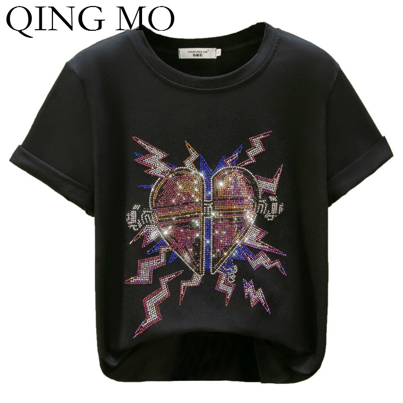 QING MO Summer Women Heart T Shirt With Rhinestone 2020 Women Summer Cotton T Shirt Female Casual Liise T Shirt ZQY3786