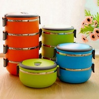 1pc School Lunch Box Stainless Steel Bento Box Lunch Thermos For Food With Containers 4 Colors Thermal Container Box