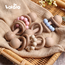 Wooden Teether Bells Wood Rattles 6 Style Soothe Baby Nursing Accessories Montessori Toys Shower Gift Baby Ring Rattles Toys