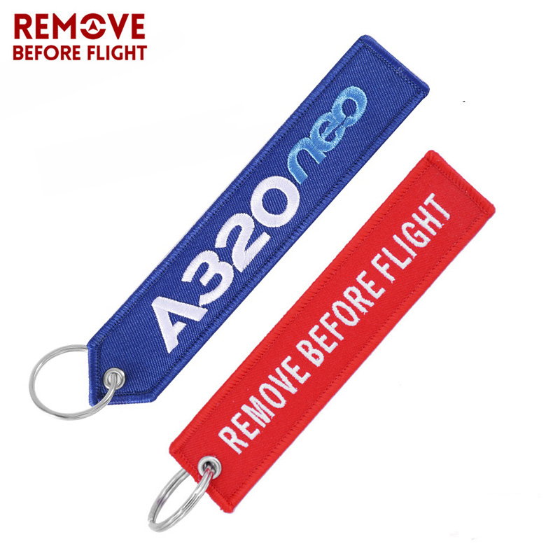 Fashion Aviation Keychain For Cars Cool Polit Key Fobs Key Chains Chaveiro Remove Before Flight A320 Key Tag 2 PCS