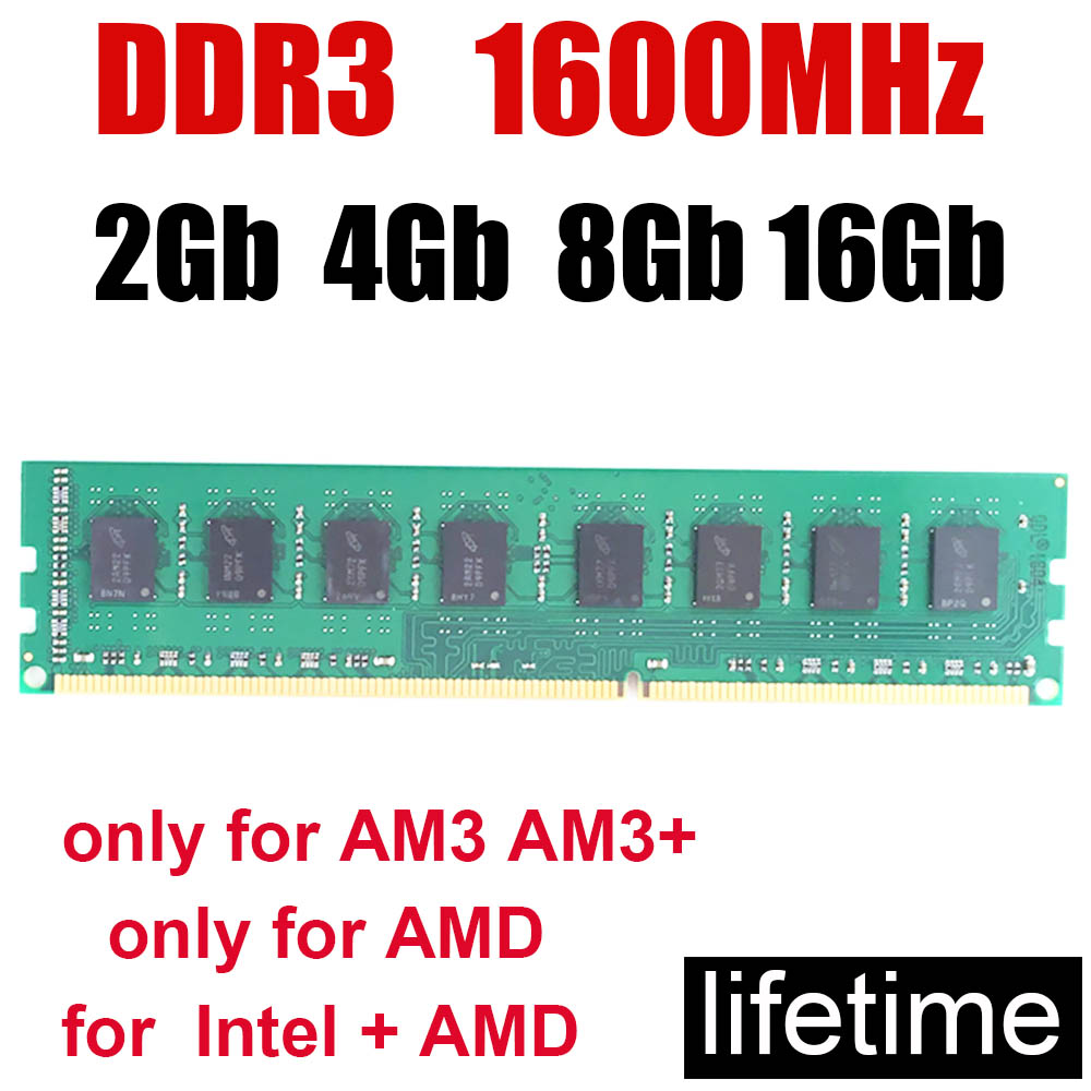 memoria <font><b>ram</b></font> <font><b>ddr3</b></font> <font><b>1600</b></font> MHz 8Gb memória <font><b>ram</b></font> <font><b>4Gb</b></font> DDR 3 PC3-12800 / Good compatible Dual channel / Design Work Game all no problem image