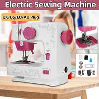 Portable Mini 12 Stitches Sewing Machine Household Multifunction Double Thread And Speed Free Arm Crafting Mending LED Machine