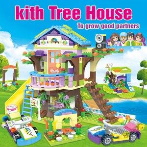 Image 2 - Bloques de construcción de casa de árbol de aventura para niñas, 587 uds, bloques de construcción compatibles con lys, juguetes para niños, regalo