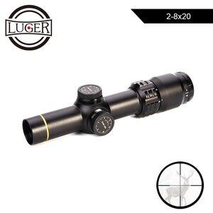 LUGER 2-8x20 mira telescópica Mil punto retícula Rifle mira Rifle táctico Rifle alcance Airsoft pistolas de aire francotirador tiro miras de caza