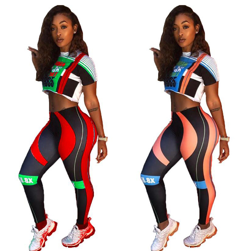 Julang Sexy Running suit Women Set short Sleevel Athleisure 2 Piece Outfits Hot Bodysuit And Pants Sets Sportswear Leggins