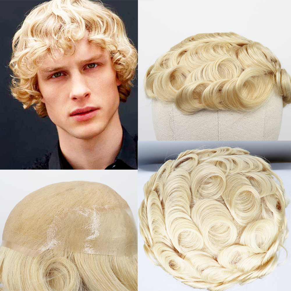 YY Wigs #613 Blonde Human Hair Toupee Men Swiss Lace & Thin PU 8x10 Remy Hair Replacement System Curly Men's Toupee 6 Inch Hair