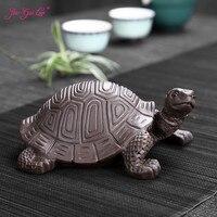 JIA GUI 羅 15 センチメートル紫色の粘土長寿の亀茶ペットの装飾品工芸茶装飾クリエイティブ N005 -