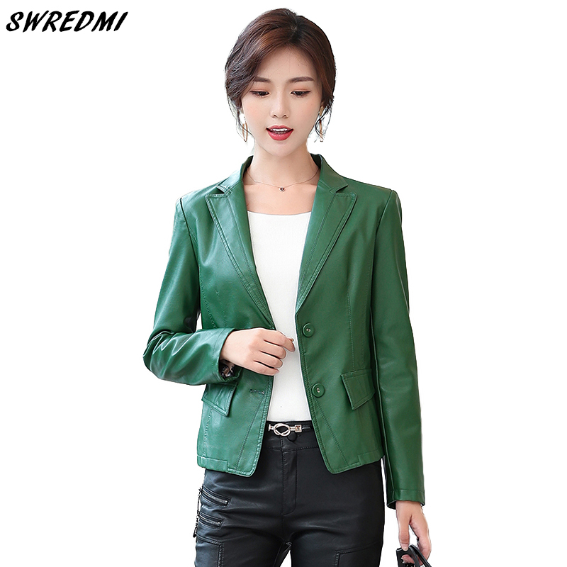 SWREDMI New Spring Green   Leather   Coat Women Plus Size S-4XL Office Lady Blazer Work To Wear Faux   Leather   Clothing Female   Suede