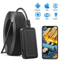 5.0MP Wireless Endoscope 2560*1920 Semi-Rigid Snake Inspection Camera with 1800 mAh Battery for iOS & Android Smart Phone