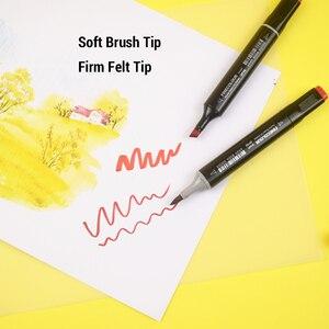 Image 4 - Finecolour Conjunto de rotuladores de punta de pincel de Color, con tinta de Alcohol, marcador artístico de punta de fieltro, suministros de arte cómico, diseño gráfico de punta de fieltro EF102
