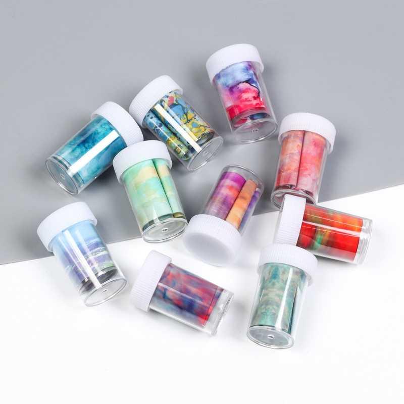 1 ขวด transfer Nail Art Foils Decal สติกเกอร์สำหรับเล็บเล็บ Sliders เล็บฤดูใบไม้ร่วงตกแต่ง 3d เปลวไฟ adesivi