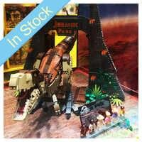 Bela 11338 3156 Uds Jurassic Dinosaur World Park película T. rex Rampage bloques de construcción ladrillos juguetes para niños 75936 de regalo de Navidad