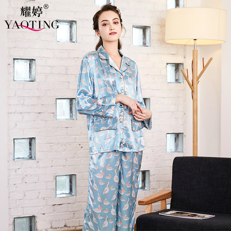 YAO TING spring and autumn new silk ladies' home wear printed long sleeved trousers two - piece pajamas wholesale
