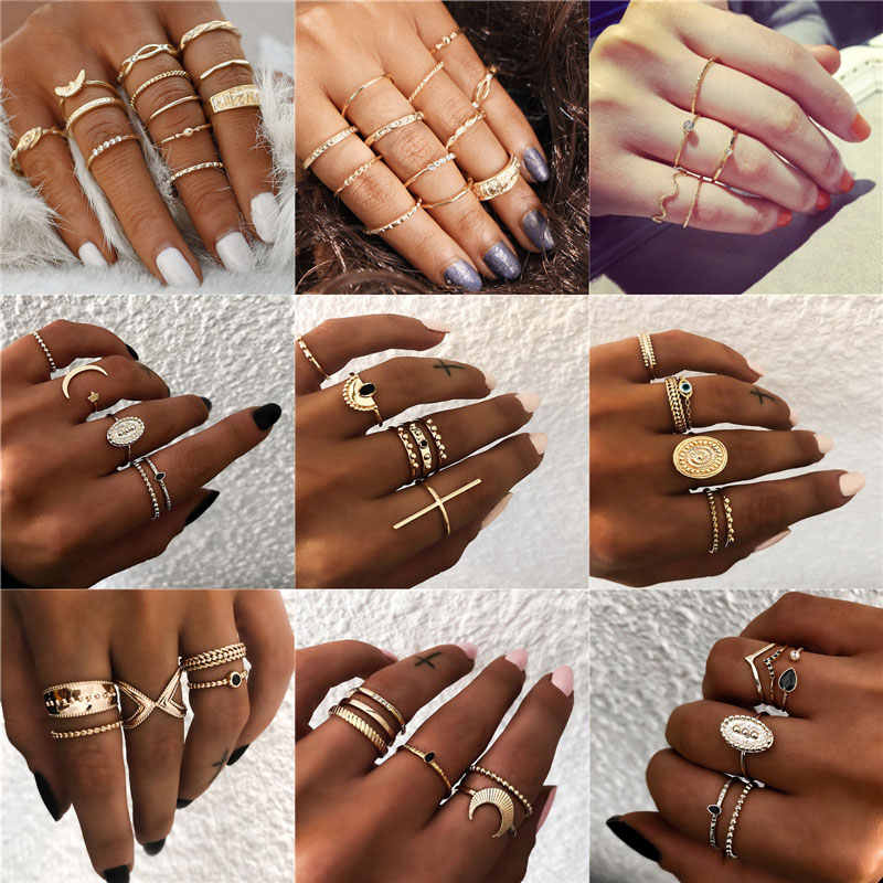 Bohemian Vintage Gold Crescent Geometric Joint Ring Set for Women Crystal Personality Design Ring Set Party Jewelry Gift