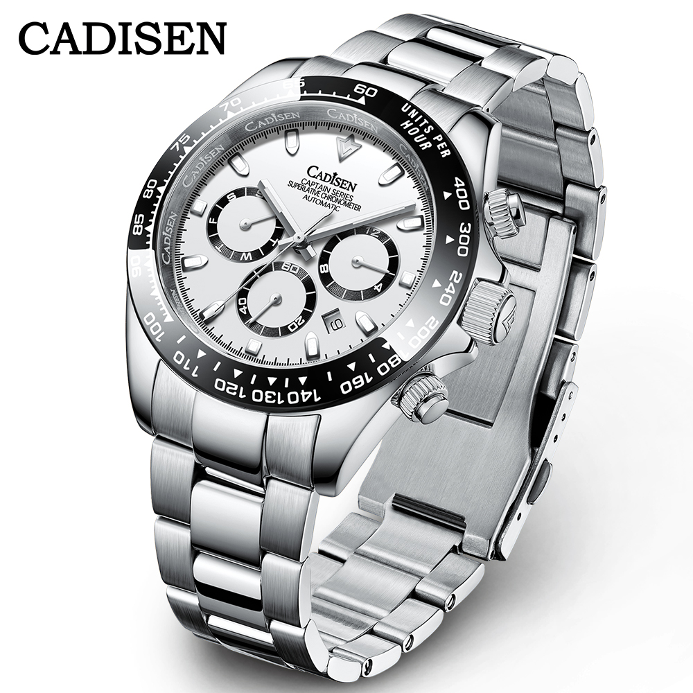 Автоматические Мужские часы CADISEN, роскошные керамические часы Daytona, спортивные водонепроницаемые наручные часы, мужские часы, новый дизайн ...