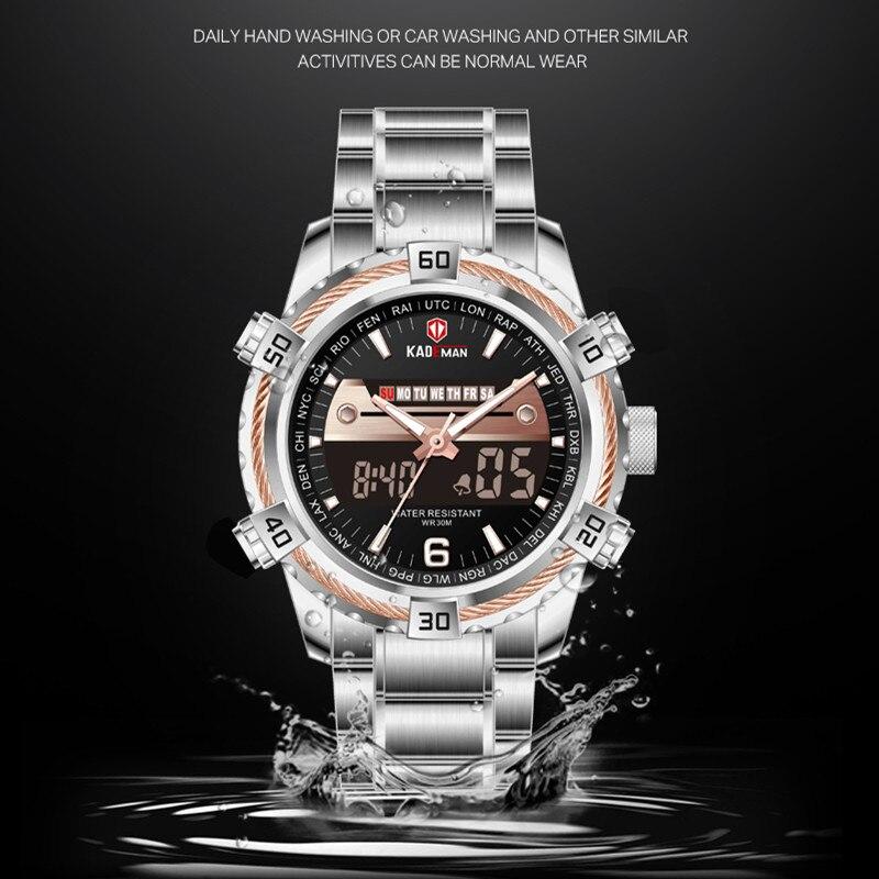 K6173 Luxury Men Watch Sports 30M Waterproof Dual Display Wristwatch Full Steel TOP Brand KADEMAN Casual Watch Relogio Masculino in Sports Watches from Watches
