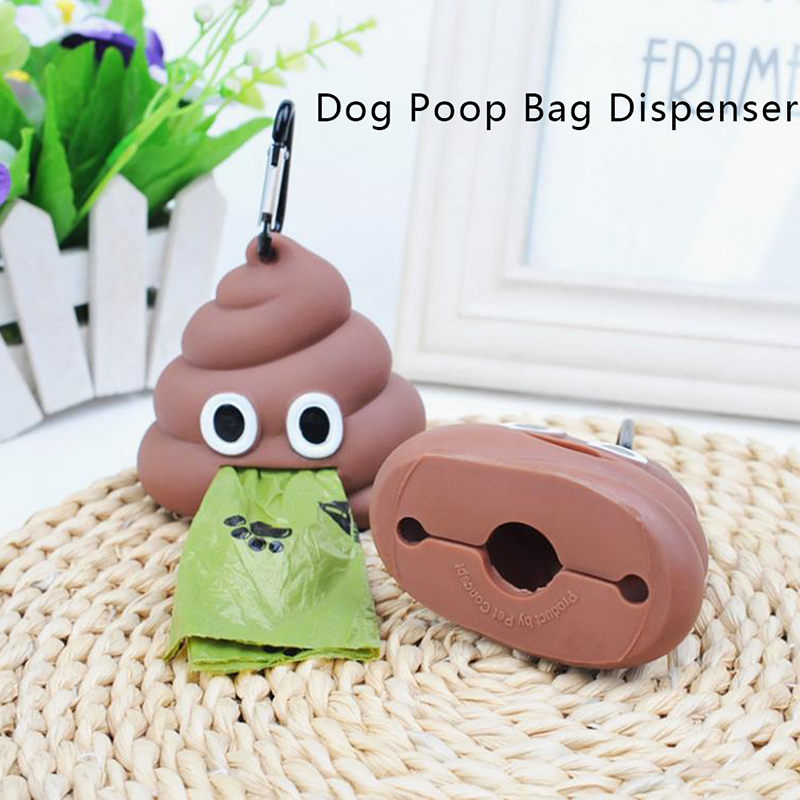 1pc Pet Poop Bag Shit shaped Dog Cat Waste Bags Portable Dog Poop Dispenser Holder Pets Cleaning Products For Outdoor