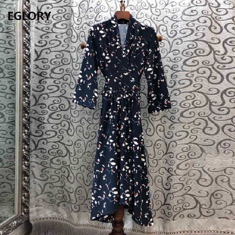 Femmes élégantes robes 2019 automne tunique fête femmes col en v Vintage fleur imprimer Flare manches mi-mollet bleu foncé robe femme