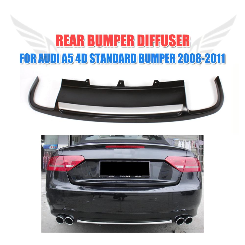 PU Black Painted Car Rear <font><b>Diffuser</b></font> Lip Spoiler For <font><b>Audi</b></font> <font><b>A5</b></font> <font><b>Sportback</b></font> 4 door Standard 2008 - 2011 Non-Sline image