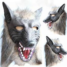 2019Creepy Full Face Wolf Latex Mask and Wolf Claws Theater Prank Prop Crazy Masks Halloween Costume Masquerade Props Mask latex wolf mask toy for halloween black