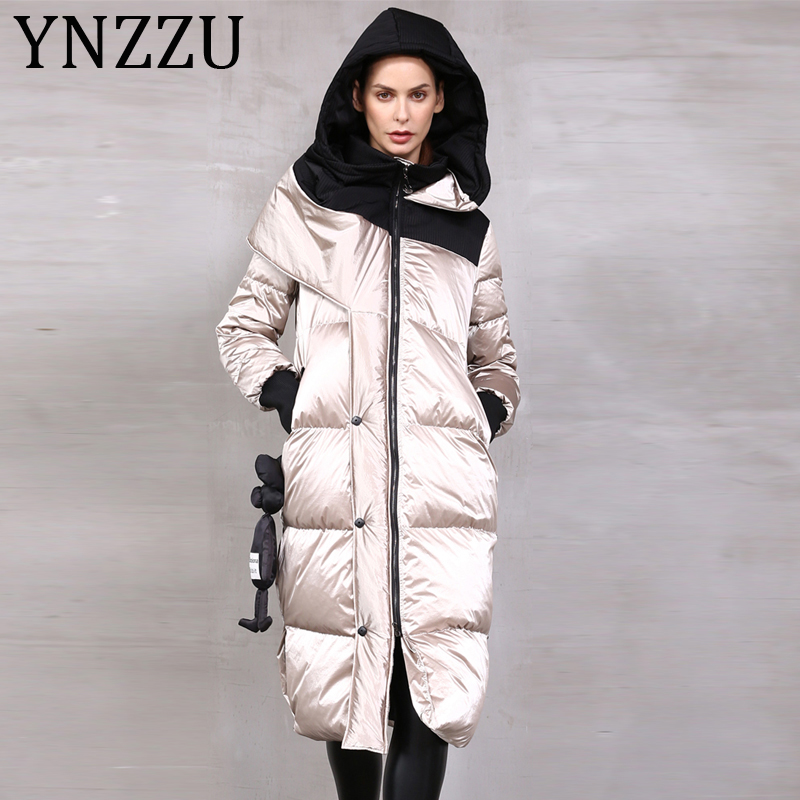 YNZZU High Quality 2019 Winter Women's Down Jacket Glossy Long 90% White Duck Down Coat Thicken Warm Female Hooded Outwear A1396