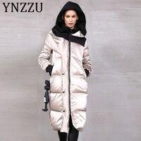 YNZZU High Quality 2019 Winter Women's Down Jacket Glossy Long 90% White Duck Down Coat Thicken Warm Female Hooded Outwear A1396