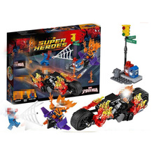 SY841 05020 Super Heroes Spider-Man Ghost Rider Team-UP with Motorcycle Building Blocks Bricks Kids Baby Gift Toys For Children single thor ghost rider motorcycle captain america antman luke cage tigress blade building blocks bricks toys for children