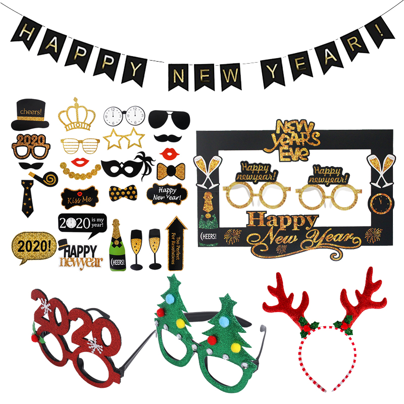 2020 Happy New Year Photo Booth Glasses Photo Props New Year Eve Photobooth Props Christmas Decoration Navidad Party Supplies