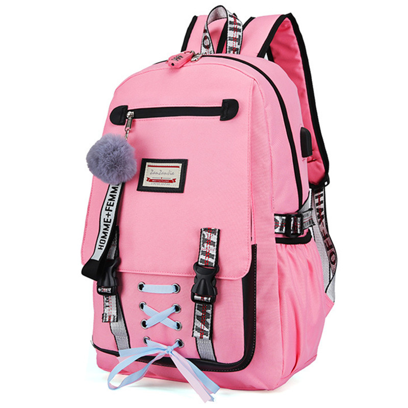 Casual School Bags For Girls Women Backpacks Fashion School Backpack USB Charging Schoolbag Backpack Child Kids Bag Mochila