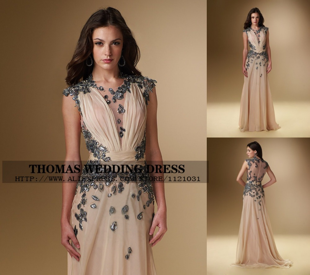 Custom Made See Through Champagne With Crystal Beading Chiffon Mother Of The Bride Dresses Evening A-line WV-500