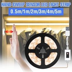 1/2/3/4/5M Onder Kast Licht Usb Motion Sensor Led Waterdichte Flexibele Lamp strip 5V Hand Sweep Pir Led Closet Sensing Lichten