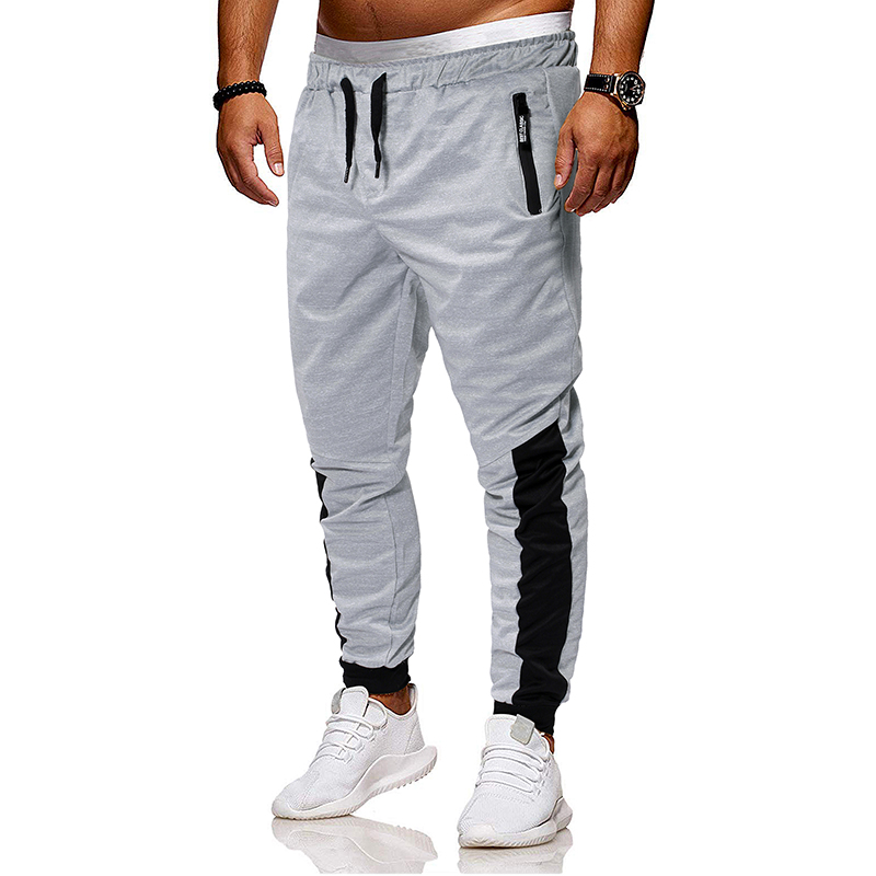 2019 New Men's Fashion Contrast Color Patchwork Tie Belt Casual Leg Men's Pants
