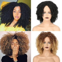 Short Hair Afro Kinky Curly Wigs With Bangs For Black Women African Synthetic Omber Cosplay Wigs High Temperature Fiber