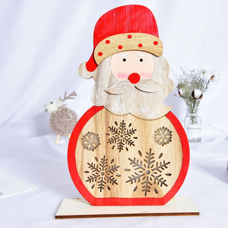 Wooden House Snowman Santa Claus Christmas Tree Ornaments With LED Light Desk Table Party Home Decor Y4QA