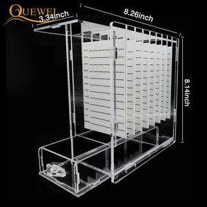 Image 2 - Eyelash Glue Glass Holder with Box 8 pieces Eyelashes Stand Extension Pallets  Individual Lashes For Makeup Tool Quewel