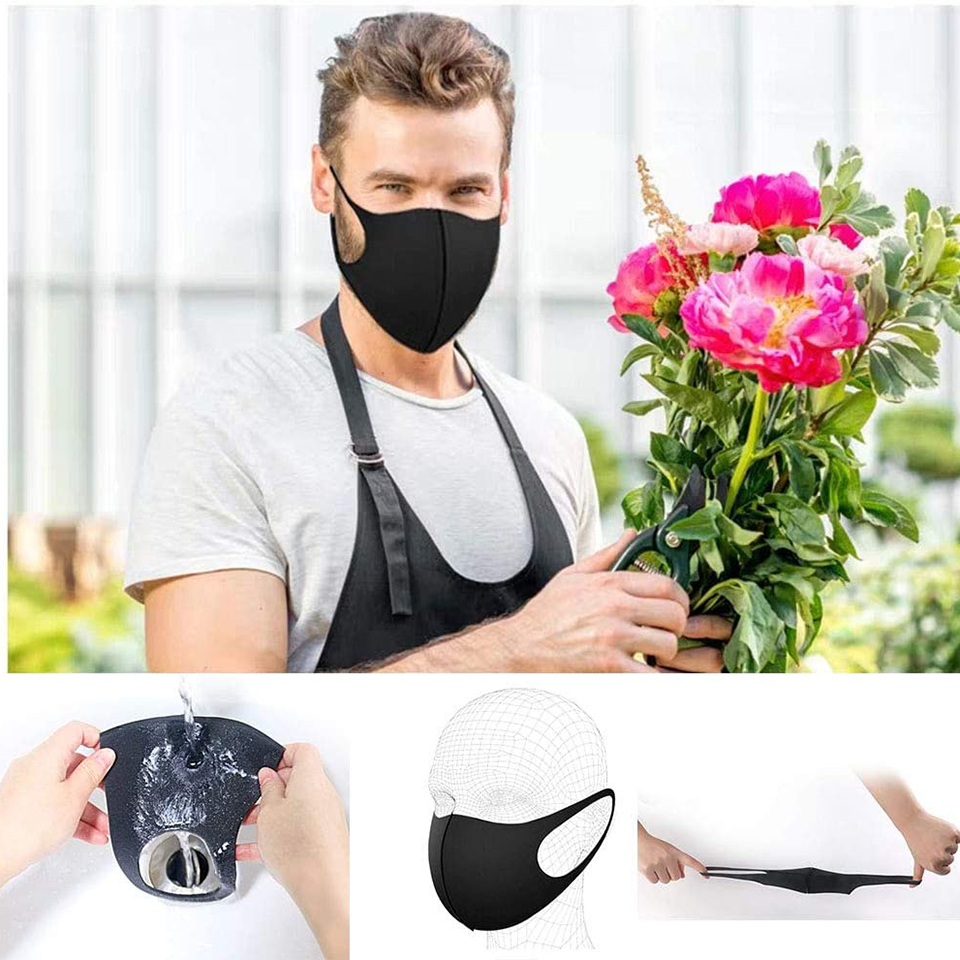 10PCS ice silk Black Cloth Mask For Face Adult Waterproof Breathable Cotton Face mask Masque Washable Reusable