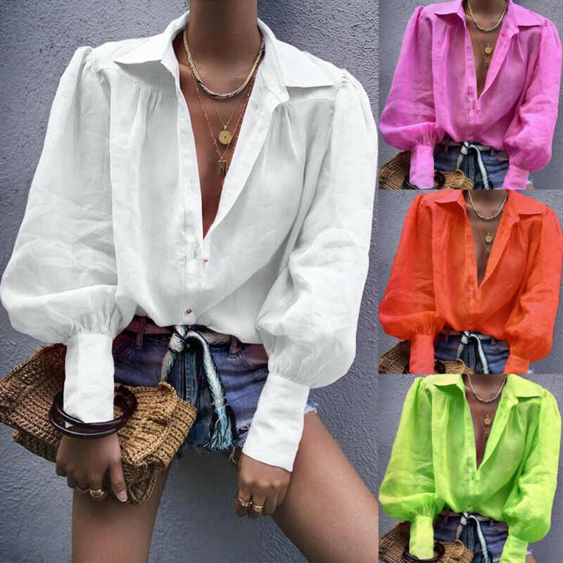 Autumn Women Fashion Long Lantern Sleeve Solid Color Button Loose Turn-down Collar Office Lady Shirt T-Shirt Ladies Top