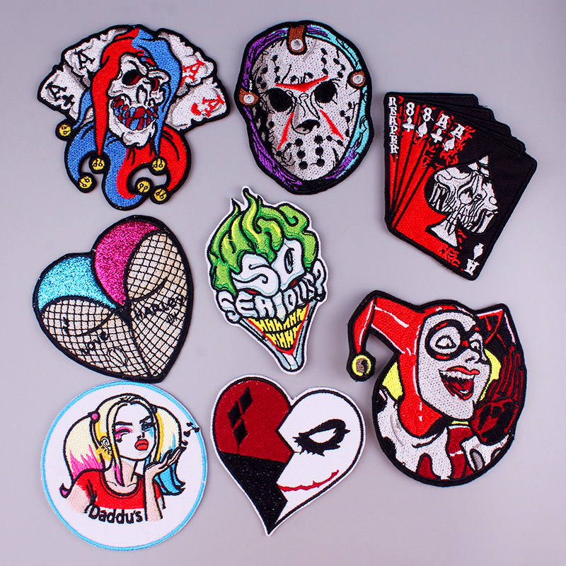 Punk Patch Skull Patch Iron On Patches On Clothes Embroidered Patches For Clothes Clothing Stripe Clown Stickers Applique Badge