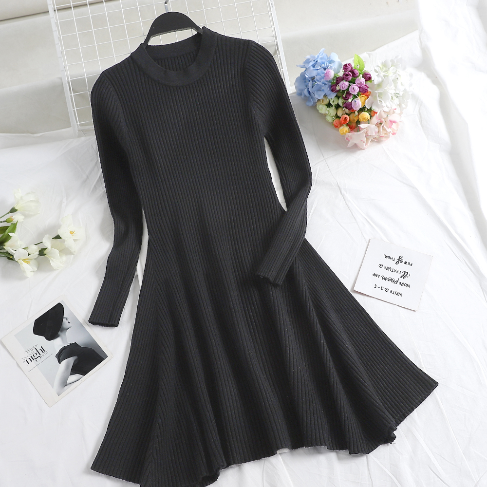 H5946c173afbd41a0aa306d936d8f2bf37 - Women Long Sleeve Sweater Dress Women's Irregular Hem Casual Autumn Winter Dress Women O-neck A Line Short Mini Knitted Dresses