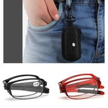 Gafas de lectura plegables para presbicia, gafas para hombre y mujer, gafas de ordenador Vintage con estuche 1,0 1,5 2,0 2,5 3,0 3,5 4,0