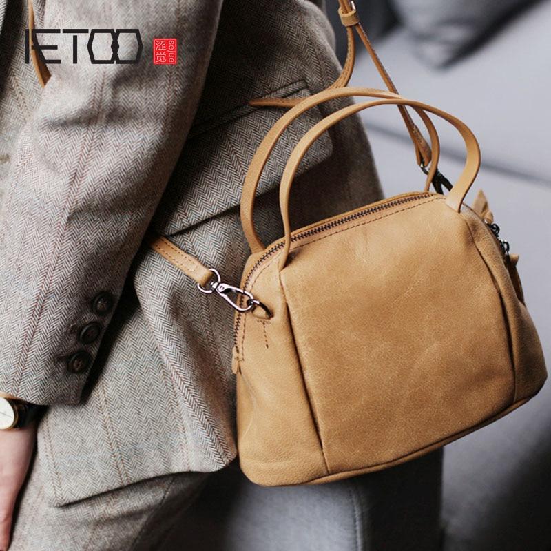 AETOO Shell handbag, art woman bag, Korean version trend port wind retro cowhide small crossbody bag