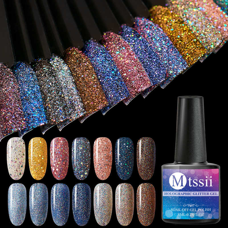 Mtssii 8ml Holographic Glitter Platinum UV เล็บเจล Rainbow COLORFUL Shimmer เล็บ UV LED Soak Off เล็บเคลือบเงา