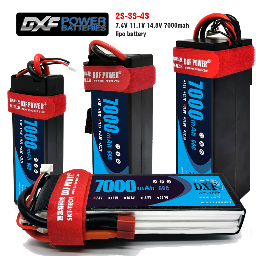 2PCS DXF <font><b>Lipo</b></font> 2S 3S <font><b>4S</b></font> 7.4V 11.1V 14.8V <font><b>Lipo</b></font> Battery 7.4V <font><b>7000mah</b></font> 60C MAX 120C HardCase for RC 1/10 Scale TrXx Stampede Car image