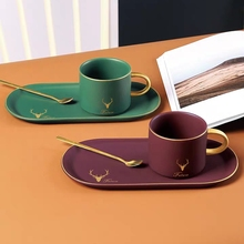 Mug-Mug European Coffee-Cup Ceramic High-Grade Luxury with Spoon And Plate Nordic Ins