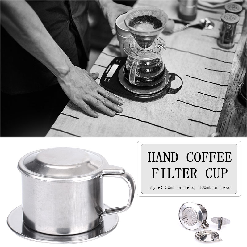 Stainless Steel Cup Mug with Filter <font><b>Vietnam</b></font> Drip <font><b>Coffee</b></font> Filter Cup Durable Vietnamese <font><b>Coffee</b></font> Filter <font><b>Maker</b></font> <font><b>Coffee</b></font> Filter image