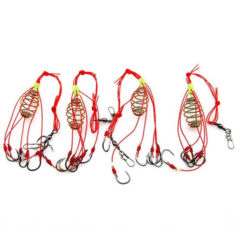 4Pcs Explosion Luminous Beads Fishing Hook Fishing Lure Bait Trap Feeder Cage Sharp Fishing Hook With Stainless Steel Springs